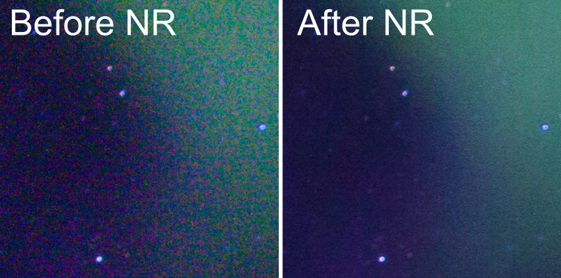 100% crop from image above, showing noise before and after Lightroom's noise reduction on processed raw file (Canon 40D, ISO1000, 13 sec)